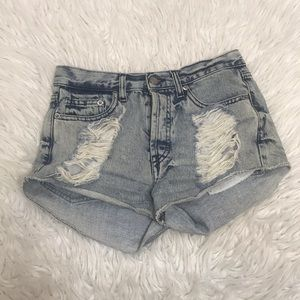 Brandy Melville Distressed Acid Wash Shorts Sz 38